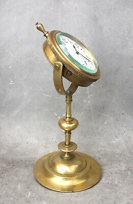 Original Vintage Antique Maritime 8 Day Ships Brass Desk Clock