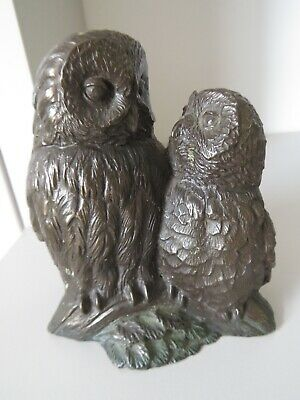 HEREDITIES ???, OWL  AND  OWLETT. Bronze / Resin Mix, Old,