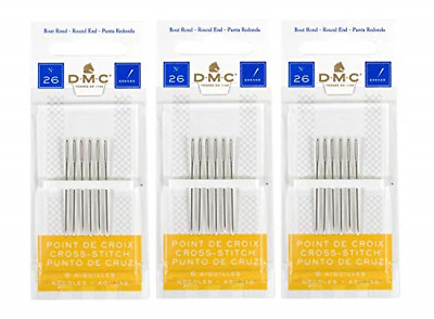 DMC 3 Pack Size 26 Cross Stitch Needles (Total 18 Needles)