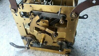 One Vintage  Hammer Strike F.h.s. German Clock Movement. For Spares Or Repairs.