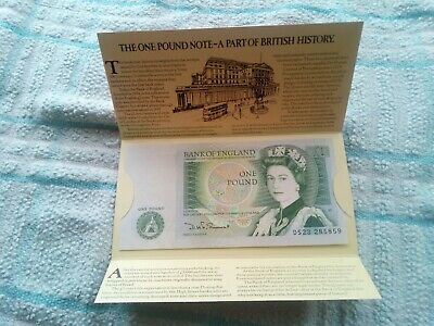 Bank Of England One Pound Note Signed Somerset In Presentation Card By Typhoo