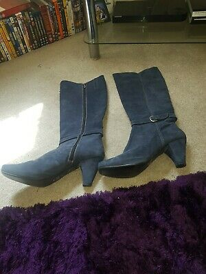 Ladies navy suede knee high boots size 10uk by Dansi