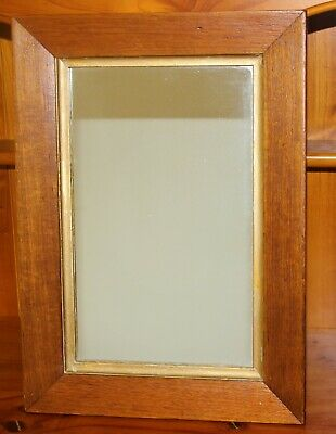 VINTAGE MIRROR Original Solid WOODEN FRAME Gold edge Heavy Glass  GC  C647