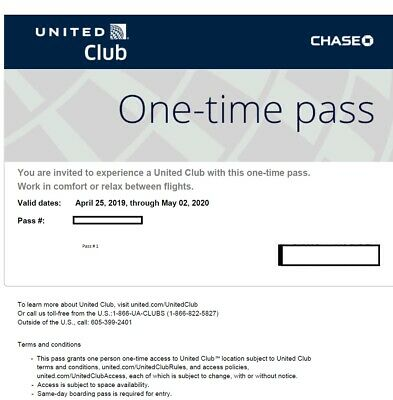 2 United Club One-Time Passes Expires May 2nd, 2020
