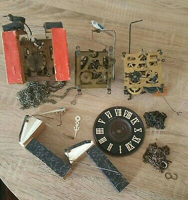 Job Lot Cuckoo Clock Parts And Movements For Spares Or Repair