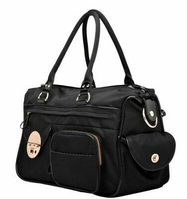 Authentic Mimco Lucid Baby Nappy Bag Black Rose Gold Nylon Duffel Weekender