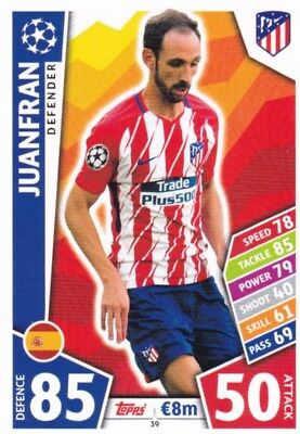 Juanfran, Athletico Madrid, Rare 2017/18 Champions League Card, Match Attax.