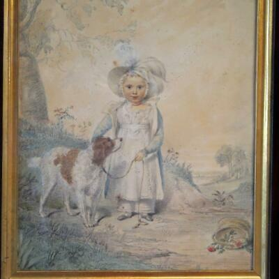 Regency Watercolor Painting Young Girl with Spaniel Dog