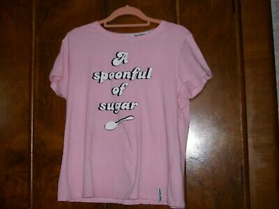 PRIMARK DISNEY PINK MARY POPPINS SPOON FULL OF SUGAR T-SHIRT Tee Top Brand New