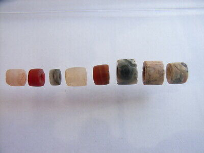 8 Ancient Neolithic Agate Beads, Stone Age, RARE !! TOP !!