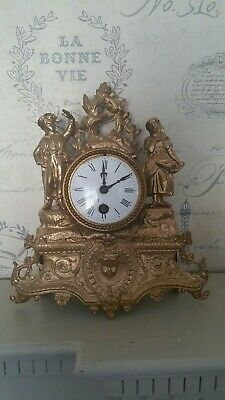 Antique Fench Spelter Gilded Figual Clock