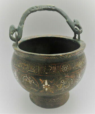 Museum Quality Ancient Islamic Bronze Vessel With Silver Inlay 1200-1300Ad 30Cm+