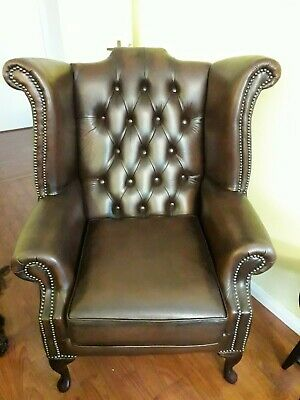 Chesterfield Queen Anne High Back Wing Chair Antique Brown Leather