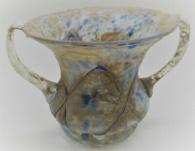 Huge Museum Quality Ancient Roman Marbled Glass Amphora Vessel 200-300Ad