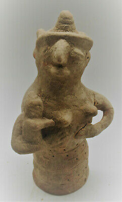 Early Indus Valley Harappan Terracotta Pillar Idol Nursing Child 2800-2000Bce