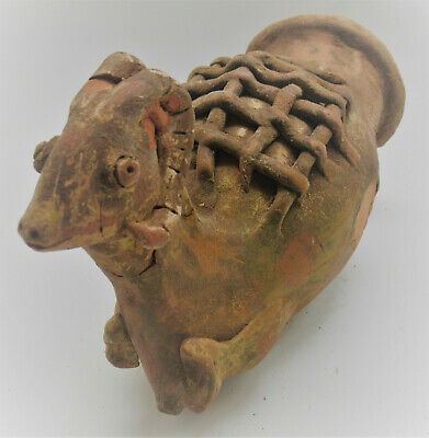 Rare Ancient Persian Terracotta Ceremonial Rhyton Vessel In The Form Of A Ram