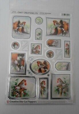 Craft Creation Silver Frame Robins Toppers For Cards & Craft