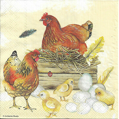Lot de 4 Serviettes en papier Coq Poule Ferme pour Decoupage Collage Decopatch