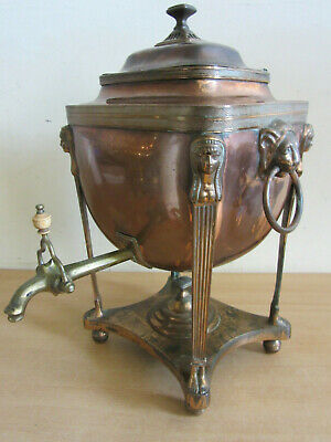 Antique Victorian English Copper Egyptian Revival Samovar Hot Water Urn