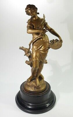 Antique Signed Gilded Spelter Figure on Turned Ebonised Wooden Base.