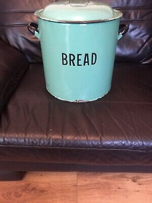 VINTAGE ENAMEL BREAD BIN GREEN Kitchenalia Retro circa 1930 antique storage