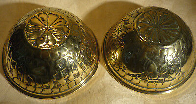 """Vintage Middle East Brass Bowls Pair Repousse Animals Calligraphy  5"""" Diameter"""