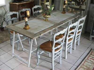 French Set Of  6 Oak Painted Louis Xv Provincial Kitchen / Dining Chairs
