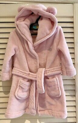 PINK ROBE BATH ROBE  WITH HOOD AND EARS 6-12 MONTHS BABY Girls
