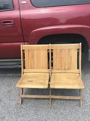 Early double Antique Folding chair bench OAK Chairs Heavy Duty Thick Free Ship