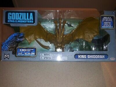 "GODZILLA King Of The Monsters 3-Headed KING GHIDORAH 6"" Figure w Argo Jet & City"