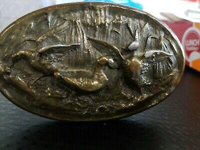 Duck Hunting Adezy Copyright 1975 Novelty Collectible Vintage Brass Belt Buckle