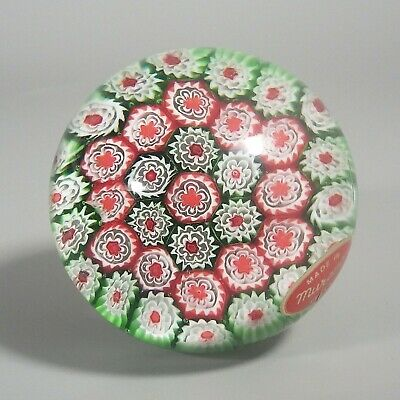 Vintage Millefiori Murano Art Glass Paperweight - Red Green White