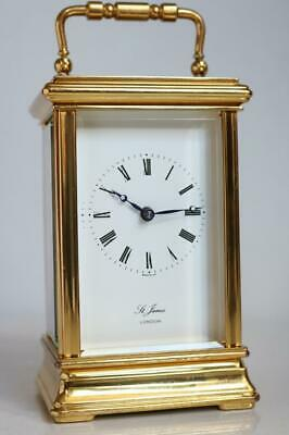 HEAVY BRITISH CARRIAGE CLOCK by ST JAMES, LONDON gilt bronze SERVICED