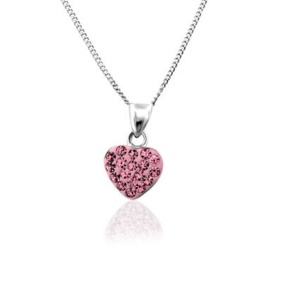 CHILDREN's Girls jewellery Sterling Silver .925 Crystal HEART Necklace / Pendant