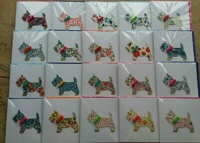 Job Lot Greetings Cards 20 Pcs, Liberty Fabric Scottie Dogs  With Embellishments