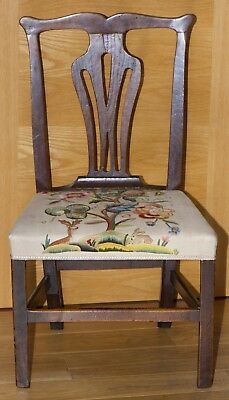 GEORGIAN DINING CHAIR with crewel work seat cover