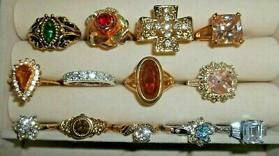 Lot of 13 Junk Drawer Estate Sale Mixed Silvertone and Goldtone Rings