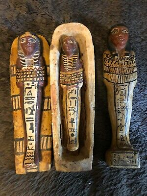 A Fine Set of 4 Rare Antique Egyptian Revival Hand Carved Pieces Sarcophagus