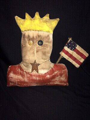 Primitive Muslin Fourth 4th Of July Decor Rustic Farm Lady Liberty Hand-Painted