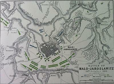 Map, Battle MALO - JAROSLAWITZ c1812 Napoleonic War Engraved A K Johnston