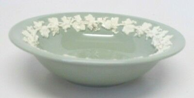 Wedgwood Queensware Cream Color on Celadon Green Plain Edge Cereal Bowl