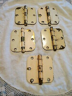 5 Large Brass Vintage Hinges Made In Usa Salvage Chippy Shabby Farmhouse Restore