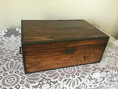 Antique large mahogany campaign writing slope - drawer, brass fittings & inkwell