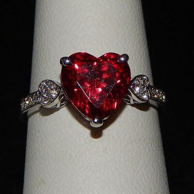 Helzberg Ring Red Ruby Sterling Silver 925 Lab Created Red Heart Ring SZ 7