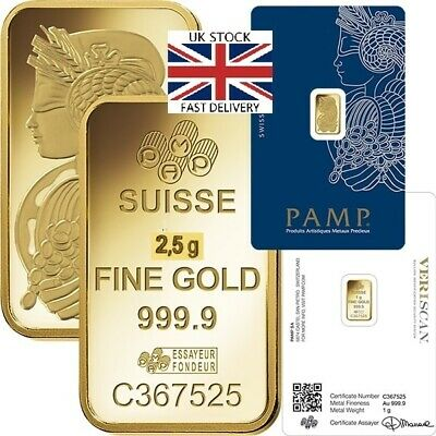 🇬🇧 PAMP 2.5g / 2.5 Gram Gold Bar Great GIFT INVESTMENT  FREE FAST🇬🇧 DELIVERY