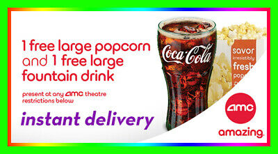 AMC Theater Large Popcorn & Large Drink Vouchers / Fast Delivery