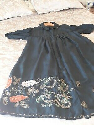 Antique French c1920s womens black breakfast gown
