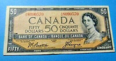 1954 Bank of Canada 50 Dollar Note A/H 8090570 - VF25/EF