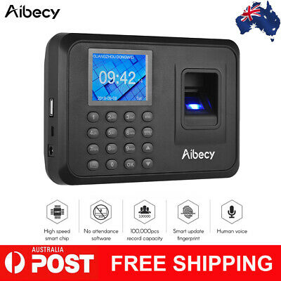 "Aibecy 2.4"" LCD Screen Biometric Fingerprint + Password Attendance Machine AU"