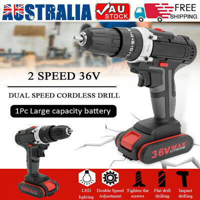 Electric Impact Cordless Drill Lithium Battery Wireless Hand Drills AU Plug